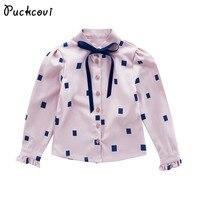 Mädchen bluse 2018 Frühling punkte bluse Blusas nina Blusen für mädchen Kinder kleidung Frills langarm kurzarm shirts Bowknot kragen