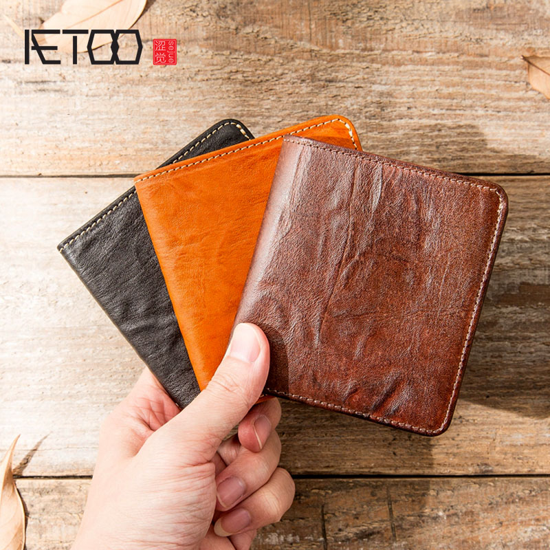 AETOO Ultra-thin mini wallet mens short leather vertical hand-made mens wallet female youth wallet leather card packageAETOO Ultra-thin mini wallet mens short leather vertical hand-made mens wallet female youth wallet leather card package