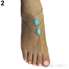 2016 2 types ankle Bracelet Bangle Slave Chain Link Finger Hand Harness Turquoise Anklets Chain 8OBE