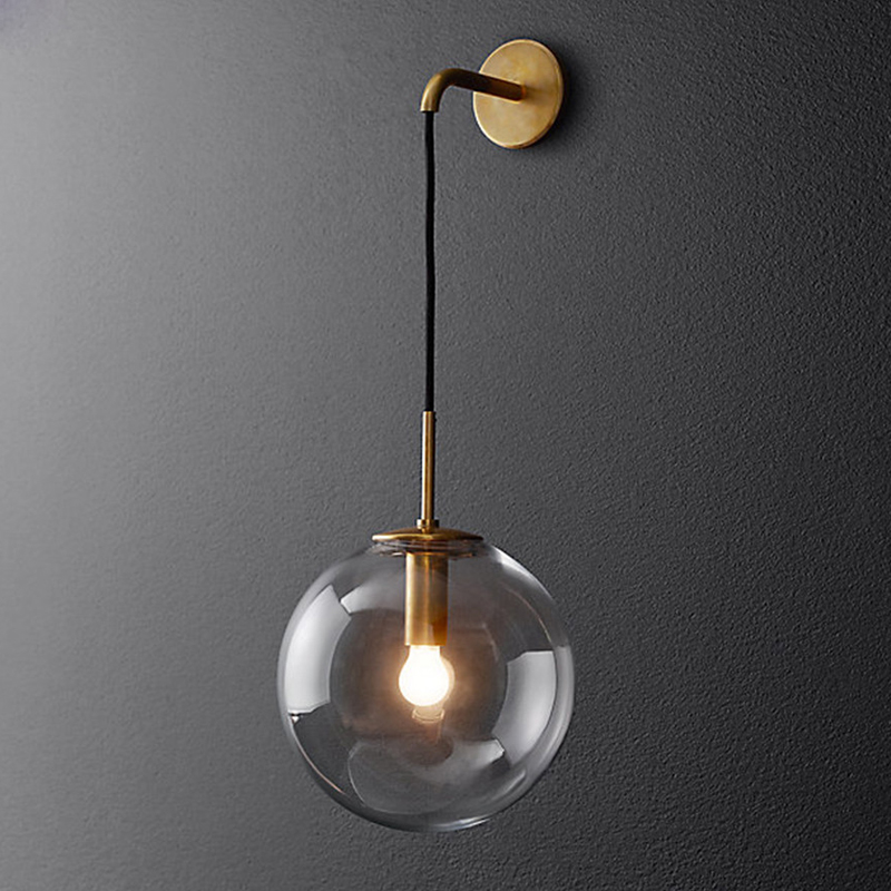 Nordic LED Wall Lamp Glass Ball E14 LED Modern Bathroom Mirror Beside American Retro Wall Light Sconce Wandlamp Aplique Murale ikvvt nordic modern led wall lamp glass ball bathroom mirror bedside american retro wall light sconce wandlamp aplique murale