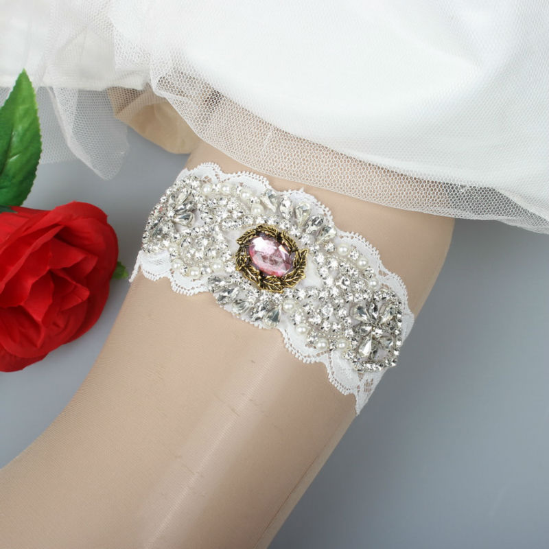 Fashion New Design Wedding Bride Garter Handmade With Rhinestones Beaded Applique and Crystal Stone