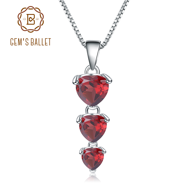 GEM'S BALLET 2.87Ct Natural Red Garnet Gemstone Jewelry 925 Sterling Silver Love Heart Pendant Necklace For Women Fine Jewelry