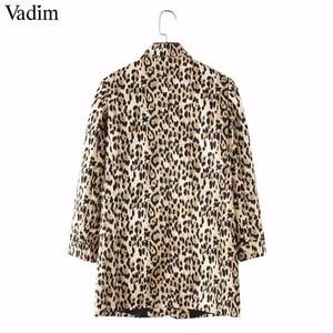 Image 4 - Vadim 女性ヴィンテージヒョウブレザーポケットノッチ襟長袖コート女性の上着ファッション casaco フェミニン CA076 トップス