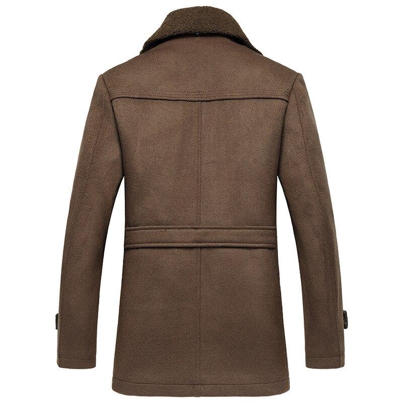 Mâle nouveau 2019 épais laine affaires décontracté hommes manteau automne hiver pardessus mode mélanges marque vêtements MOOWNUC épissage - 3