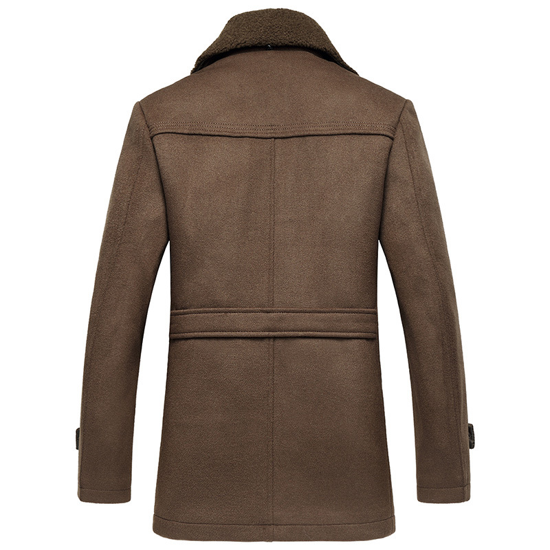 Male New 2019 Thick Woollen Business Casual Men's Coat Autumn Winter Overcoat Fashion Blends Brand Clothing MOOWNUC Splicing - 3