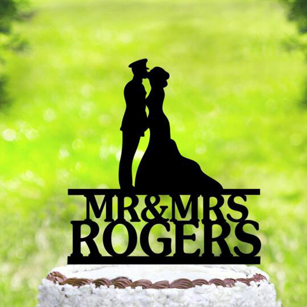 Personalized name Wedding Officer/Uniform Cake Topper,Bride &Groom Silhouette Military Cake Topper, Welcome Home Soldier Topper Personalized name Wedding Officer/Uniform Cake Topper,Bride &Groom Silhouette Military Cake Topper, Welcome Home Soldier Topper