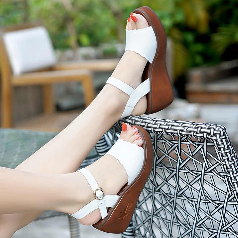 Plataforma Tacones Señoras 33 2019 Sandalias Mujer Zapatos Playa De Genuino 43 Cuero Verano Talla Cuña Grande Zapato SzpqUMVLG