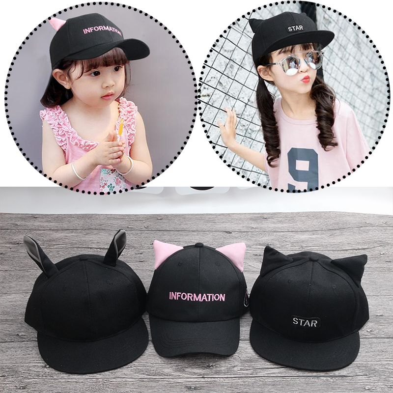 New 2017 Fashion boy girls letter hats Bones Gorras Snapbacks Little Devil Horns Hip Hop Cap