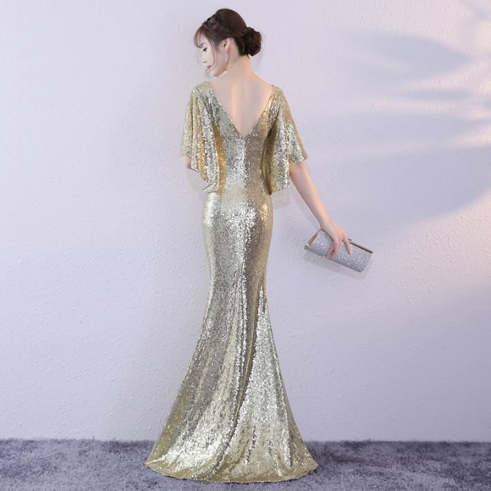 BANVASAC 2018 Elegant V Neck Sequined Mermaid Long Evening Dresses Party Flare Half Sleeve Zipper Back Prom Gowns in Evening Dresses from Weddings Events