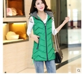 Women Winter Vest Waistcoat 2016 Womens Long Vest Jacket Sleeveless Collar Hooded Down Cotton Warm Vest Female