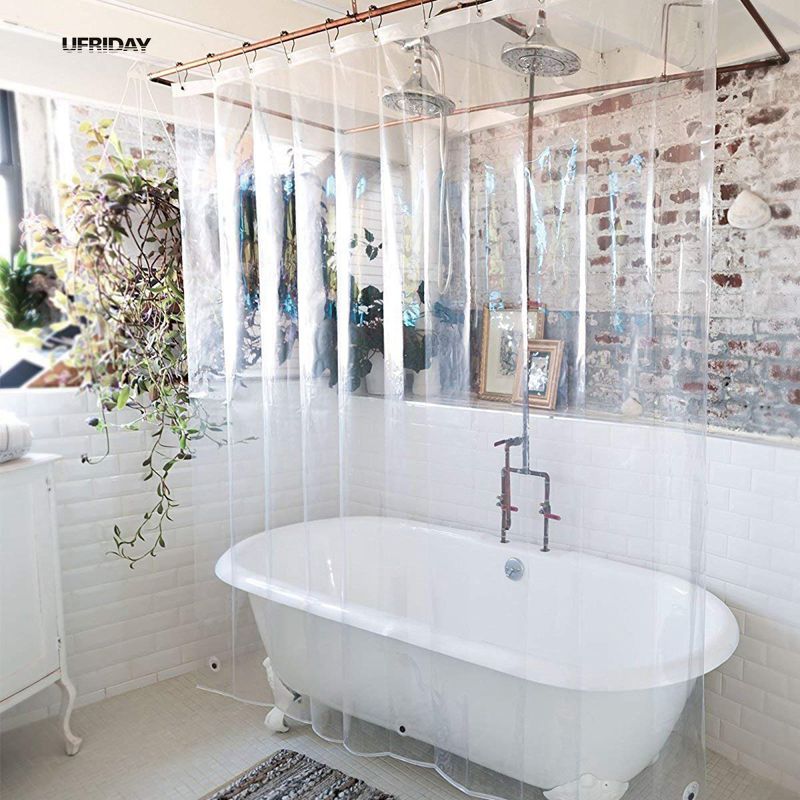 UFRIDAY PEVA Shower Curtain Transparent Liner With Magnets Bottom Waterproof And Mildew