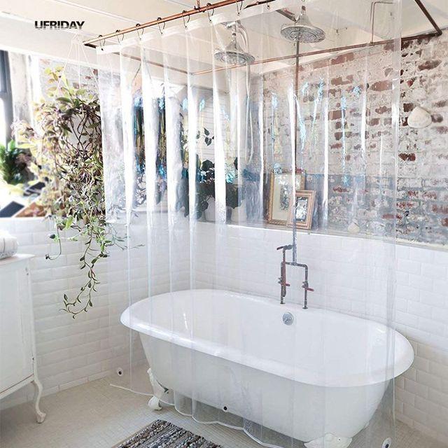 מגניב UFRIDAY PEVA מקלחת וילון שקוף אניה עם מגנטים תחתון עמיד למים וטחב SC-29