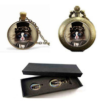 Großhandel Steampunk Halskette Steampunk Katze Anhänger Handgefertigten Vintage-Mode Glaskuppel Halskette taschenuhr mit free box