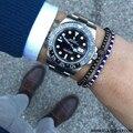 Black Plated Micro Pave Black CZ Beads Men Bracelets, Zirconia Round Beads Braiding Macrame Bracelet Men Male