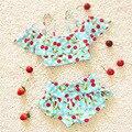 2 pçs/set Crianças Swimwear Conjunto Tankinis Biquíni Meninas Swimwear Bonito Divisão Preschool Crianças Recém-nascidas Do Bebê Swimsuit Fato de banho