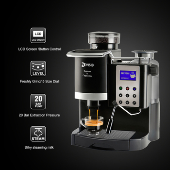 DEVISIB All-in-One Automatic Espresso Coffee Machine Americano Maker with Bean Grinder and Milk Steamer 1 Year Waranty 2
