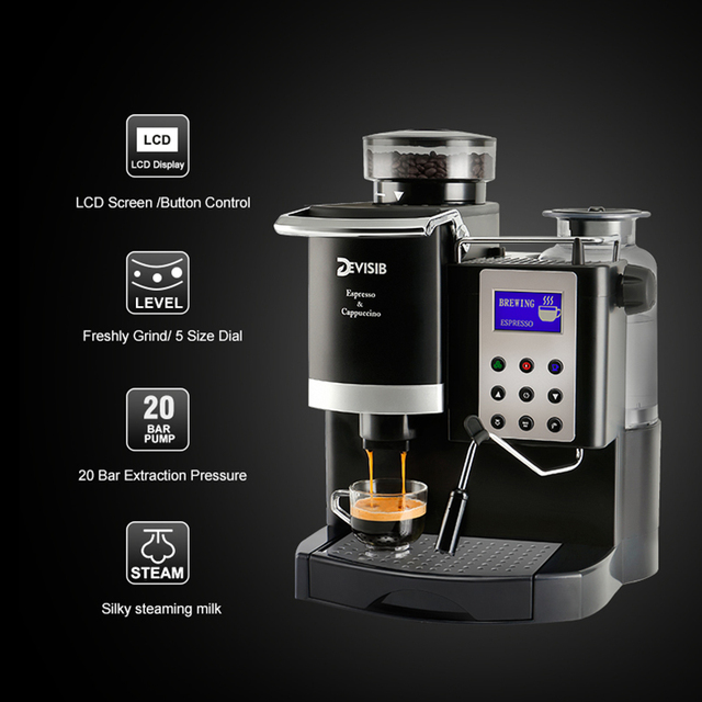 DEVISIB Professional All-in-One Espresso Coffee Machine Americano Maker with Bean Grinder and Milk Frother Become Barista Easily 1