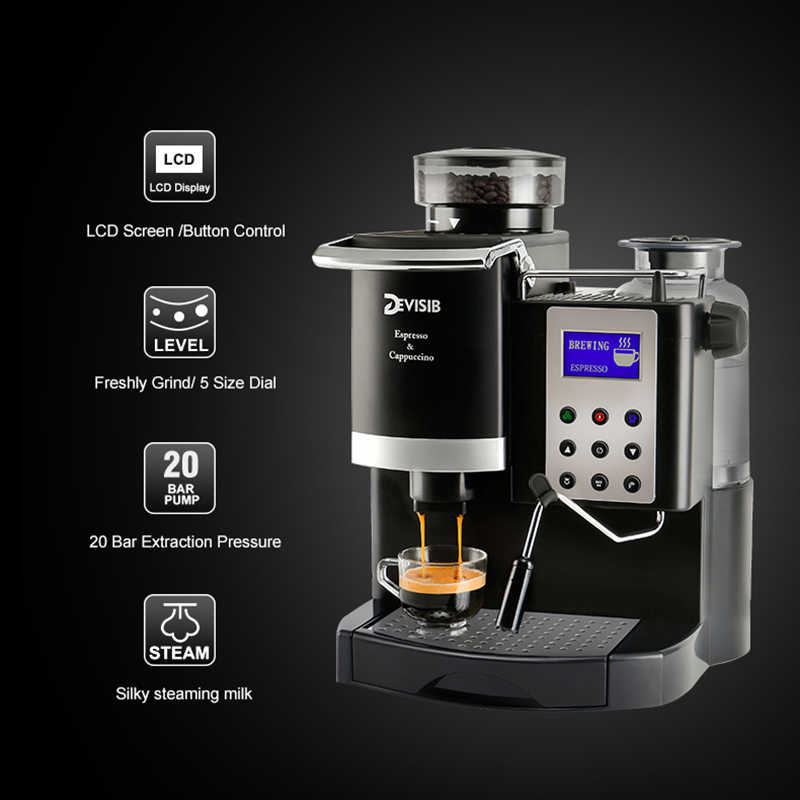 Devisib Tất Cả Để-Cà Phê Máy Pha Cà Phê Tự Động Americano Trung Quốc Trà Capuchinator Cafetera Espresso Đồ Gia Dụng Nhà Bếp