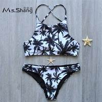 MS SHANG Coconut Print Cross Strap Bikinis Women Swimsuit Padded Sexy Brazilian Bikini Set 2017 Swimwear