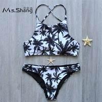 MS SHANG Coconut Print Cross Strap Bikinis Women Swimsuit Padded Sexy Brazilian Bikini Set 2017 Swimwear