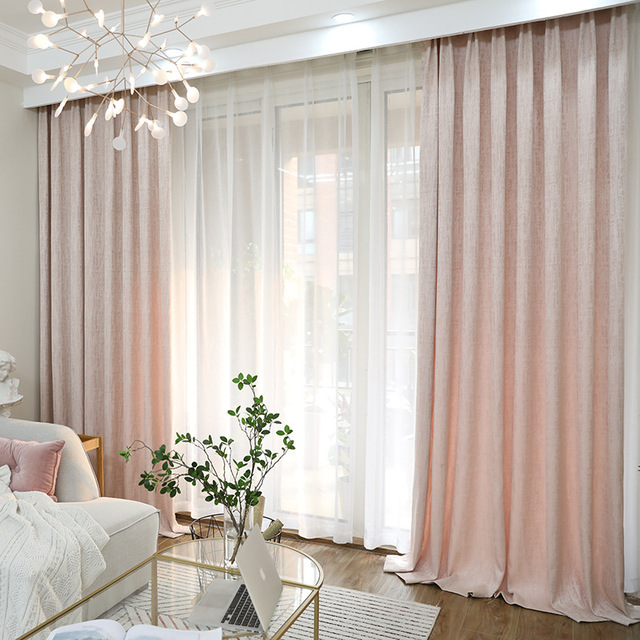 modern curtains for living room pictures beautiful rooms with leather furniture minimalist pink chenille color curtain home decoration blackout balcony processing