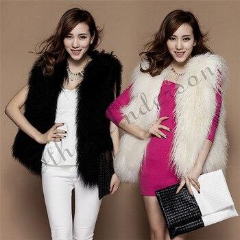 2018 Winter Women Real Fur Vest Flurry Genuine Mongolia Sheep Fur Coat Winter Warm Fashion Slim Medium Long Jacket Real Fur Coat