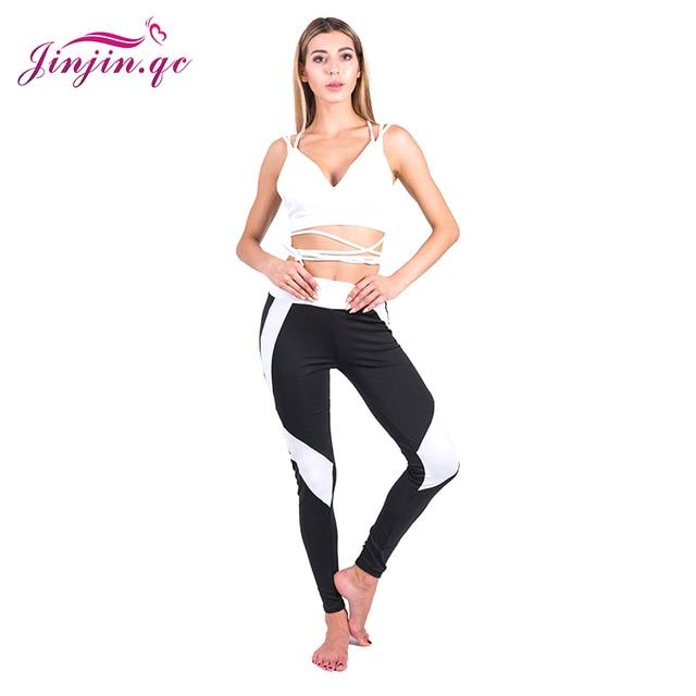 Jinjin.QC Black And White Geometric Leggings Women Push Up Pants Sexy Legging Casual Ankle Length High Waist Leggins