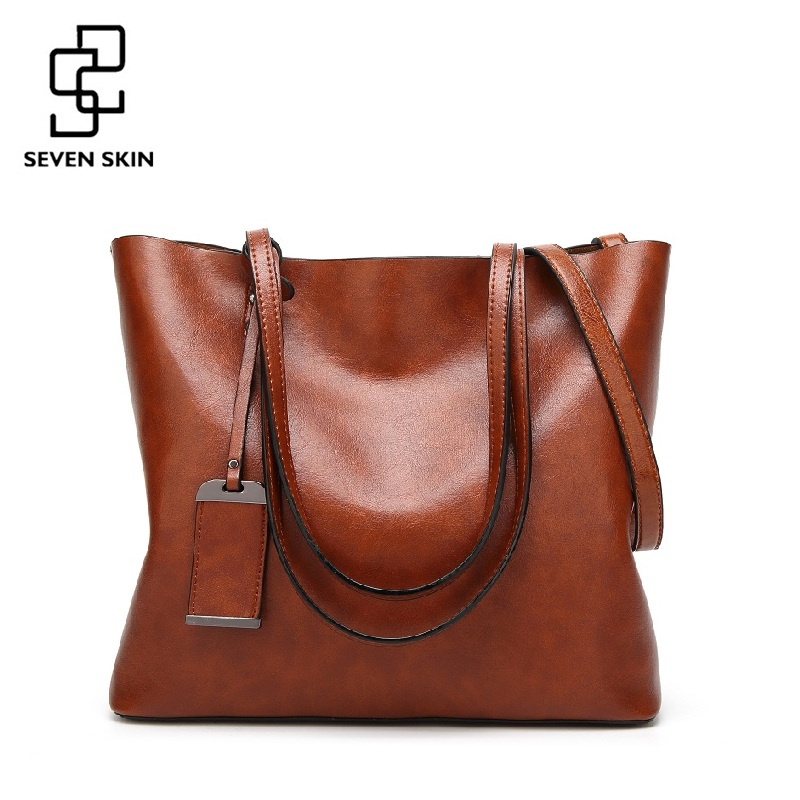 SEVEN SKIN 2017 New Fashion Women Handbags Famous Brands Leather Bags Female Large Shoulder Bags Casual Tote Bag bolsa feminina new fashion style belt top handle bags women bags handbags women famous brands oil skin solid soft female casual tote sac a main