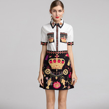 Chic women's 2 piece set diamonds short sleeves Shirts vintage A line skirts Fashion vintage women skirt suit A231 chic embroidered chinese style blouses tops women summer short sleeves vintage shirts a276