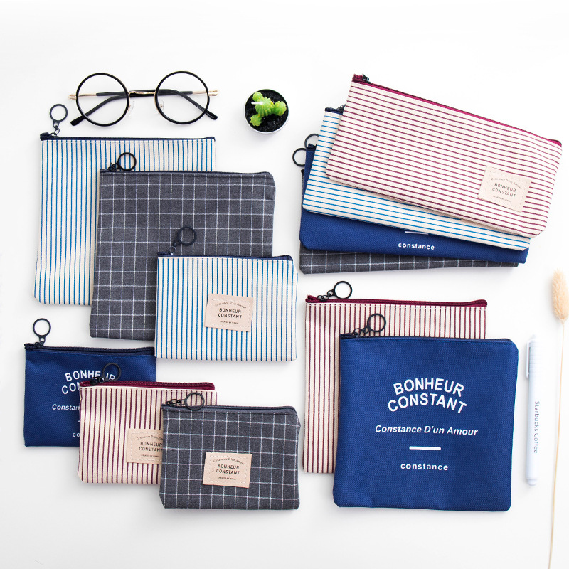 1PCS Simple Style Stripes Canvas Pencil Bag Stationery Storage Pencil Case School Kids Students Gift Stationery Supply