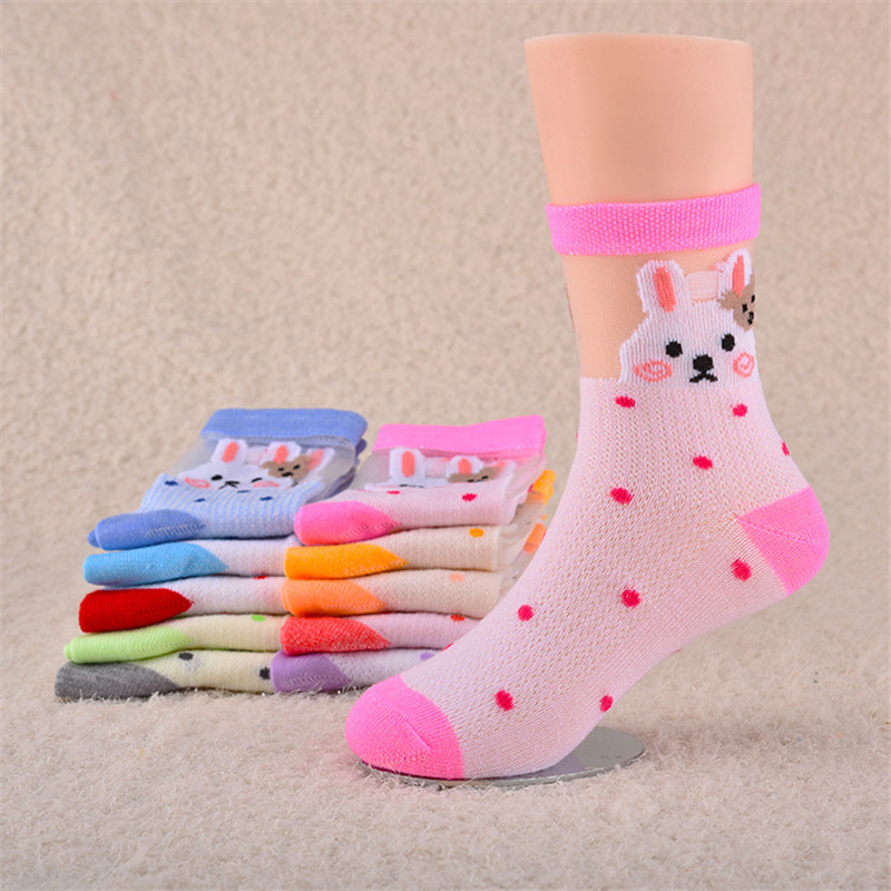 Hot Sales 4-15 Years Old Children Socks Spring And Summer Mesh  Cartoon Children Lace Socks S Wholesal