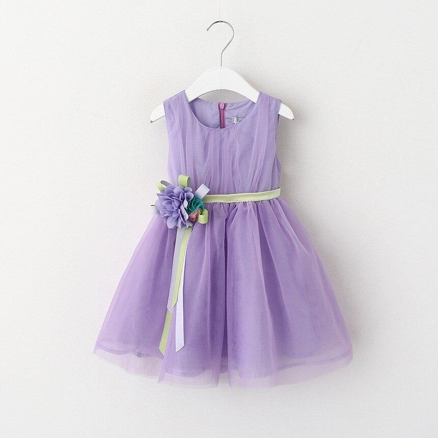 VIMIKID 17 New Girls tutu dress + belt flowers gauze children princess vest dress Girls lace dress kids clothes pink purple 11
