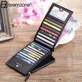 Teemzone - Top moda alta calidad colores caramelo Plaid plegadizas tarjeta de crédito de cuero titular de la tarjeta y sostenedores de la identificación J30