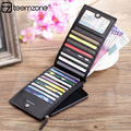 teemzone - Top Fashion High Quality Candy Colors Plaid Bifold Leather Credit Card Holder in Card & ID Holders J30