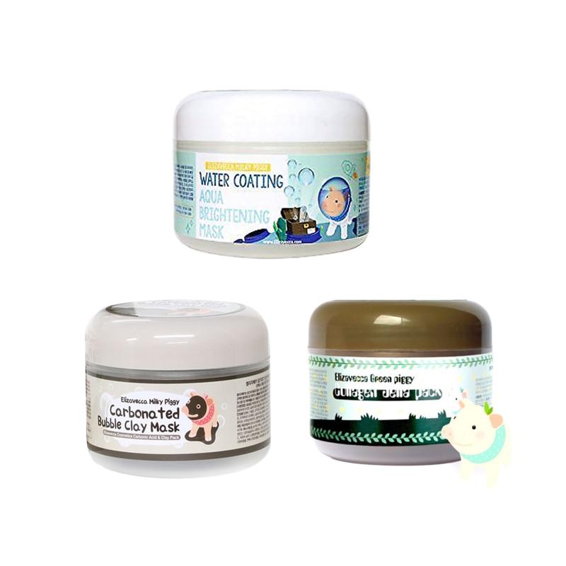 Elizavecca Milky Piggy Carbonated Bubble Clay Mask 100g Green Piggy Collagen Jella Pack 100g Aqua Brightening Mask 100% Original