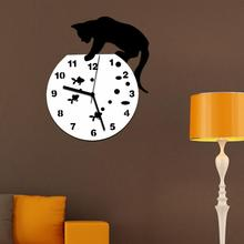 Niegrzeczny kot zegar akrylowy zegar ścienny nowoczesne designerskie dekoracje do domu zegarek naklejka ścienna m16 30 + tanie tanio cartoon Wall Clock Modern Design circular Z tworzywa sztucznego 26cm Pojedyncze twarzy 310mm 450g Cyfrowy 12mm blachy Antique style