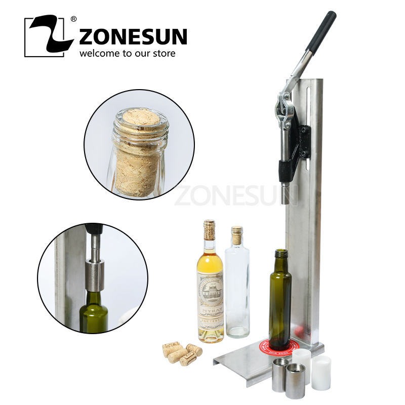 ZONESUN Manual Stainless Steel Corkers Wine Corking Machine Bar Capping Tool Brewed Wine Bottle Cork Press Inserting Machine small bottle filling machine