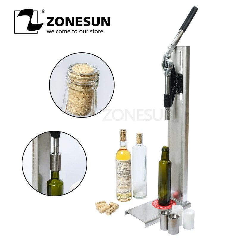 ZONESUN Manuel acier inoxydable Corkers Machine De Bouchage Du Vin Bar Plafonnement Outil Brassée bouchon de bouteille de vin Presse Machine d'insertion