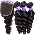Brazilian Loose Wave Lace Closure with Bundles 4pcs Ali Moda Hair Brazilian Virgin Hair with Closure Brazilian Virgin Hair
