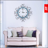 Luminousness dream blue modern living room wall clock diamond luxury fashion rustic silent watch