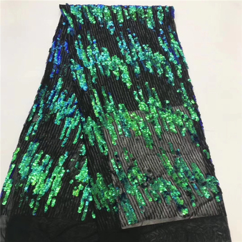 Tollola Green High Quality Nigeria Wedding African Lace Fabric With Sequins Embroidery African French Tulle Lace Fabric