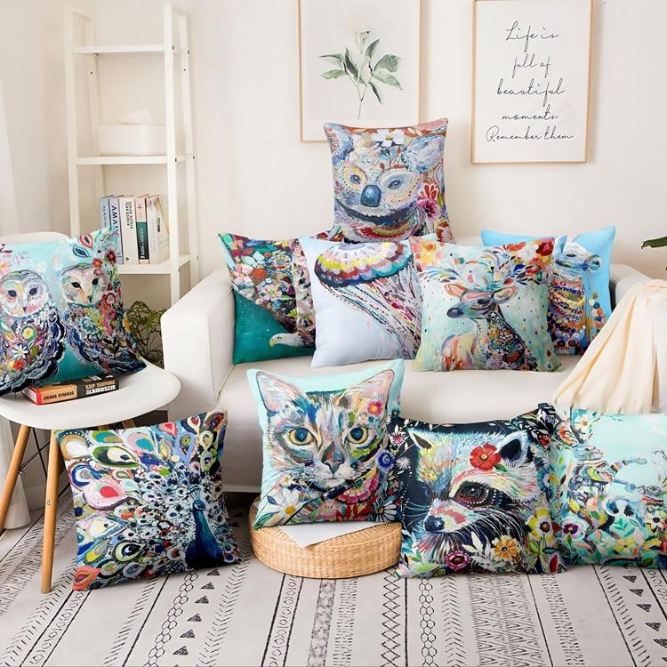 >Colourful <font><b>Watercolor</b></font> <font><b>Animal</b></font> Oil Painting Printed Pillowcase Thin Linen Cushion Decorative Pillow <font><b>Home</b></font> Decor Sofa Throw Pillows