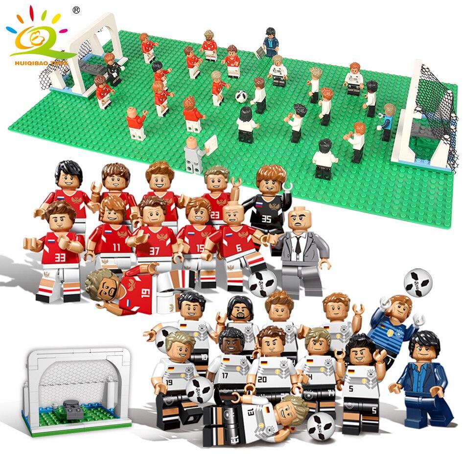 12pcs World Football Team Player Figures Building Blocks Compatible Legoed Soccer City Russia Model DIY Brick Toys For Children стоимость