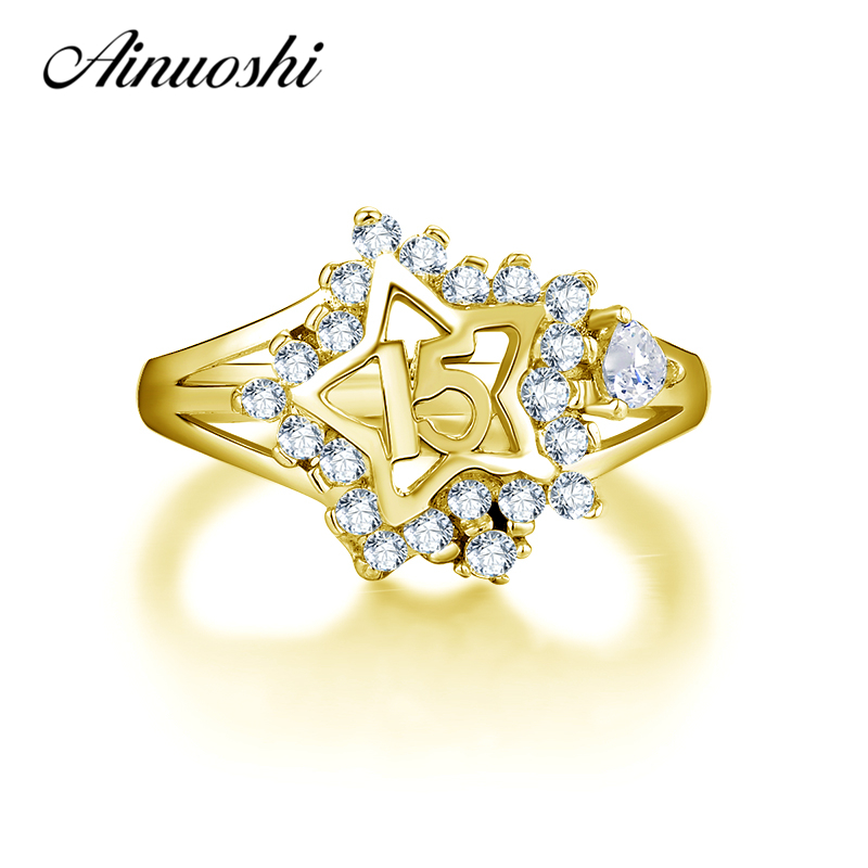 AINUOSHI 10K Solid Yellow Gold Star Halo Ring 15th Anniversary Women Ring Jewelry Engagement Wedding Birthday Party Fine Ring ainuoshi exquisite queen crown ring 10k solid yellow gold flower ring women jewelry engagement wedding birthday party heart ring