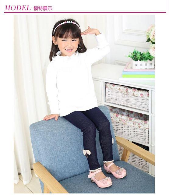 New Brand 2019 Winter Fur Girls Bow Jeans Cotton Children Cashmere Pants Kids Warm Elastic Waist Legging Wholesale And Retail 5