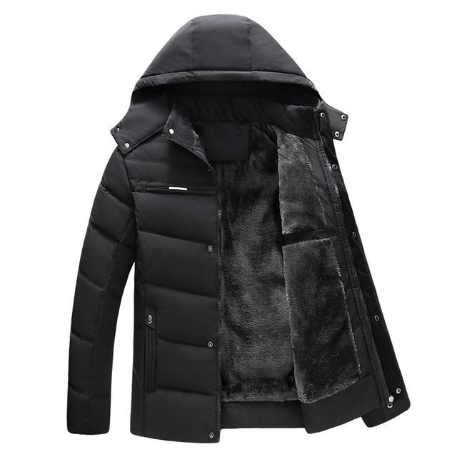 Thick padded parka men winter coat jacket hooded stand colloar mens parkas warm fleece zipper casual outerwear big size for men