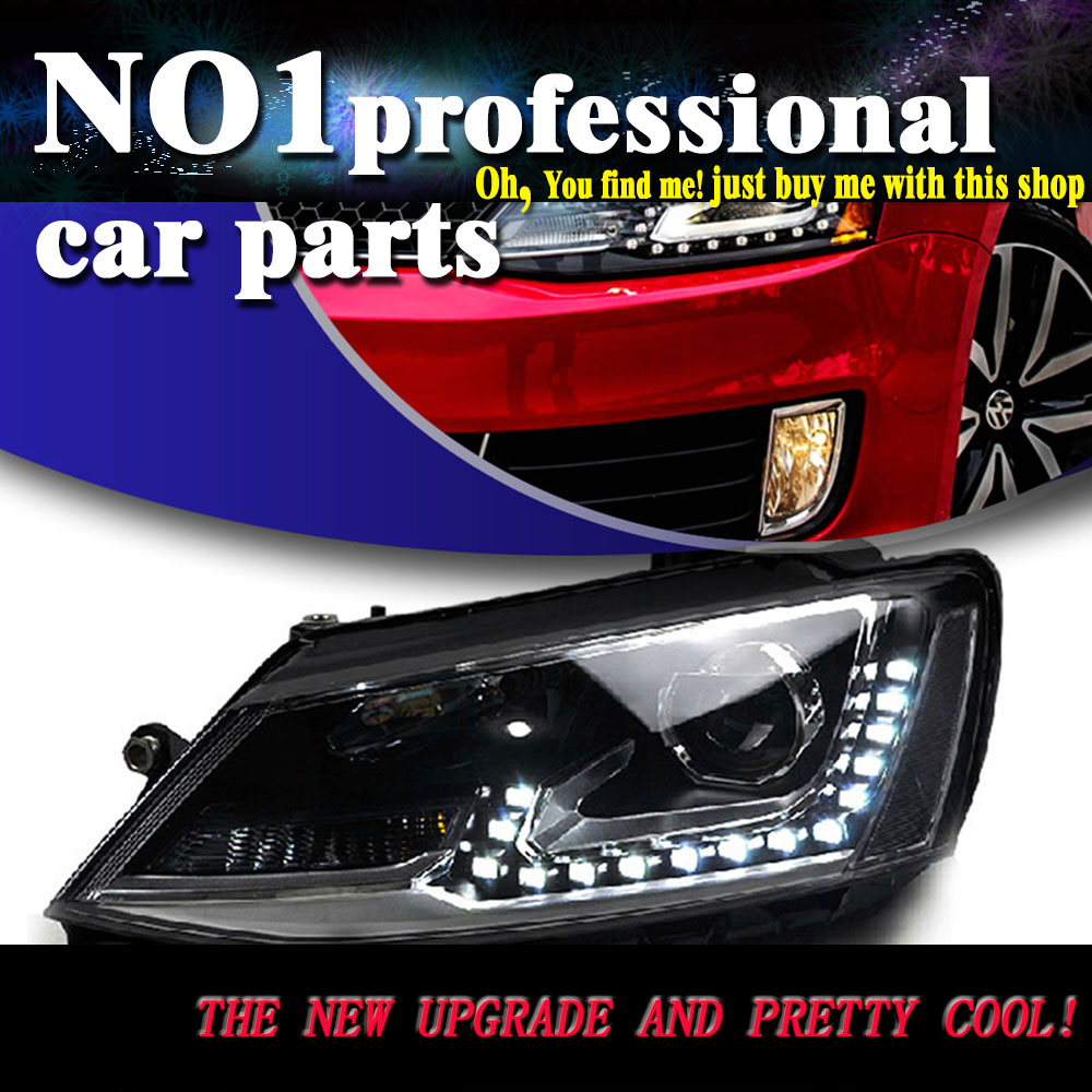 Car Styling for VW Jetta MK6  headlights 2012-2015 head lamp led DRL front Bi-Xenon Lens Double Beam HID KIT car styling head lamp 2012 2015 for toyota vios headlights led head lamp drl front bi xenon lens double beam hid kit