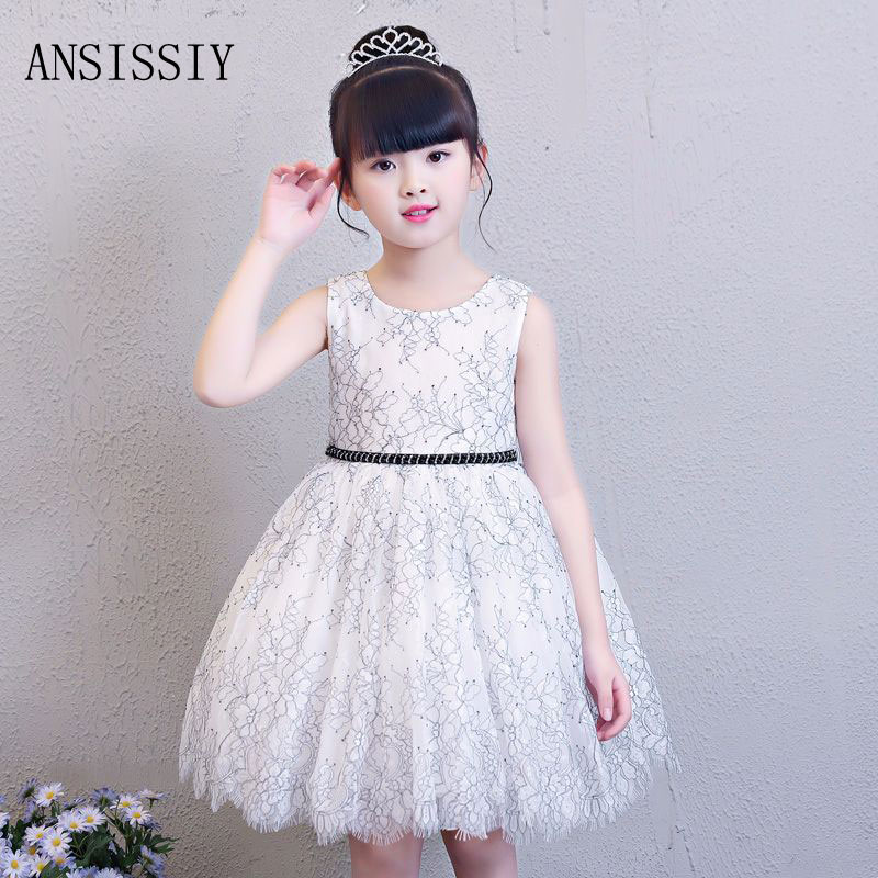 Summer Flower Princess Lace Dresses for Girls Sleeveless Wedding Party Dresses Junior Adolescent Gown Vestido Clothes 4-8 Years sleeveless children baby girls kids clothing summer princess party flower bow gown full dresses 2 4 6 7 8 9 10 years
