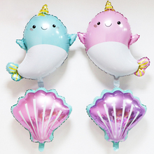 1pc  large inflatable toy shark and pearl foil balloon childrens birthday gift party