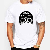 Men S Fashion Urban Cruiser Never Ride Alone Motorcycle Helmet Design T Shirt Boy Cool Tops